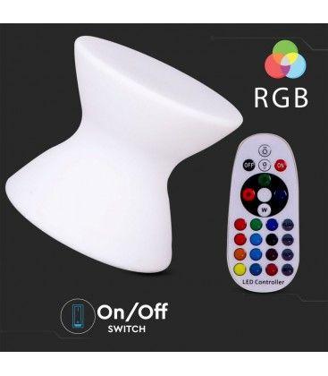 V-Tac RGB LED stol - Uppladdningsbart, med fjärrkontroll, 40x40x36 cm