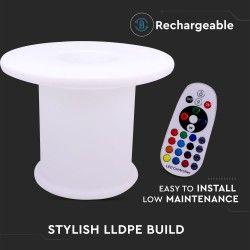 V-Tac RGB LED bord - Uppladdningsbart, med fjärrkontroll, Ø70x54 cm