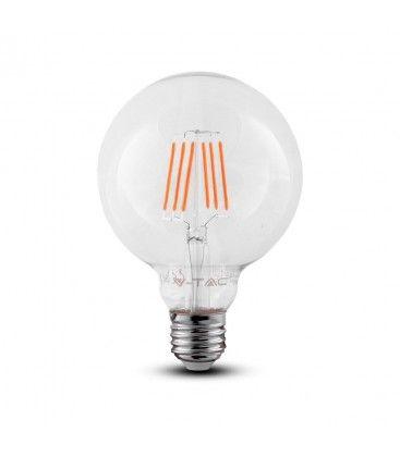 V-Tac 6W LED globlampa - Samsung LED chip, Filament, Ø9,5 cm, E27