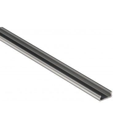 Aluprofil Type D till inomhus IP21 LED strip - Lav, 1 meter, ubehandlat aluminium, välj cover