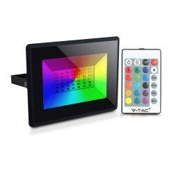 V-Tac 50W LED strålkastare RGB - Med RF fjärrkontroll, utomhusbruk