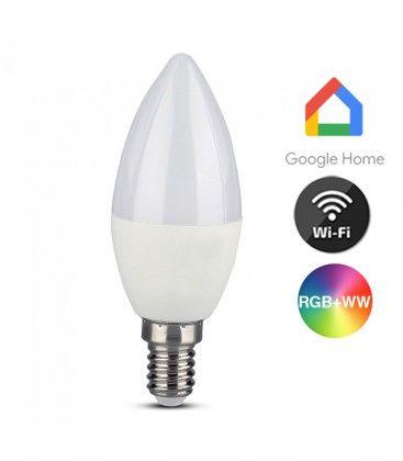 V-Tac 5W Smart Home LED lampa - Fungerar med Google Home, Alexa och smartphones, E14