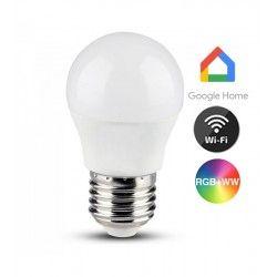E27 vanliga LED V-Tac 5W Smart Home LED lampa - Verk med Google Home, Alexa och smartaphones, E27, G45