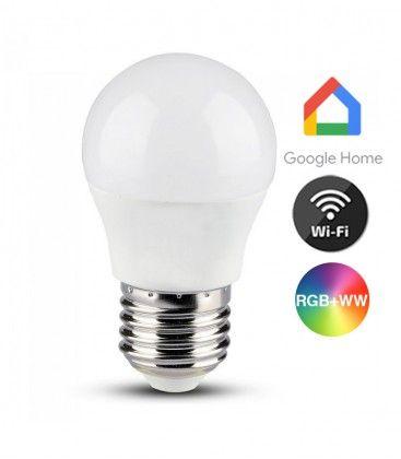 V-Tac 5W Smart Home LED lampa - Fungerar med Google Home, Alexa och smartphones, E27, G45