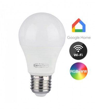 V-Tac 11W Smart Home LED lampa - Fungerar med Google Home, Alexa och smartphones, E27, A60