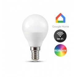 E14 LED V-Tac 5W Smart Home LED lampa - Fungerar med Google Home, Alexa och smartphones, P45, E14