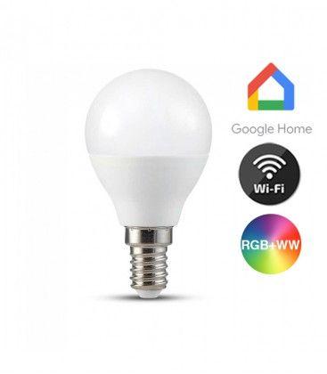 V-Tac 5W Smart Home LED lampa - Fungerar med Google Home, Alexa och smartphones, P45, E14