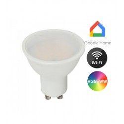 V-Tac 5W Smart Home LED lampa - Fungerar med Google Home, Alexa och smartphones, GU10 Spot