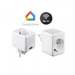 LED Lampor V-Tac Smarta Home Wifi kontaktströmbrytare - Verk med Google Home, Alexa och smartaphones, med USB udtag, 230V