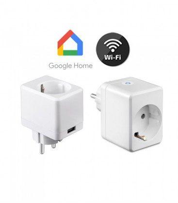 V-Tac Smart Home Wifi kontaktströmbrytare - Fungerar med Google Home, Alexa och smartphones, med USB, 230V