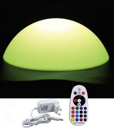 V-Tac RGB LED halvboll - Uppladdningsbart, med fjärrkontroll, Ø50 cm