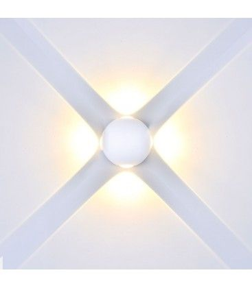 V-Tac 4W LED vit vägglampa - Runda, IP65 utomhusbruk, 230V, inkl. ljuskälla