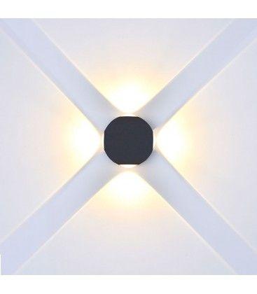 V-Tac 4W LED svart vägglampa - Runda, IP65 utomhusbruk, 230V, inkl. ljuskälla