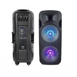 150W partyhögtaler på hjul - Uppladdningsbart, Bluetooth, RGB, inkl. mikrofon