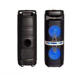 120W partyhögtaler på hjul - Uppladdningsbart, Bluetooth, diskolys, inkl. mikrofon