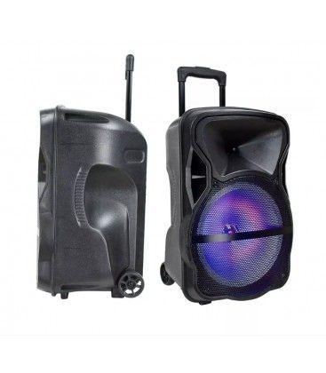 35W partyhögtaler på hjul - Uppladdningsbart, Bluetooth, RGB, inkl. mikrofon