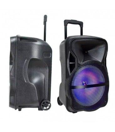 50W partyhögtaler på hjul - Uppladdningsbart, Bluetooth, RGB, inkl. mikrofon