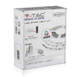 LED strip V-Tac 10W/m RGB+W LED strip komplett kit - 5m, 60 LED per. meter, Smarta Home /u fjärrkontroll
