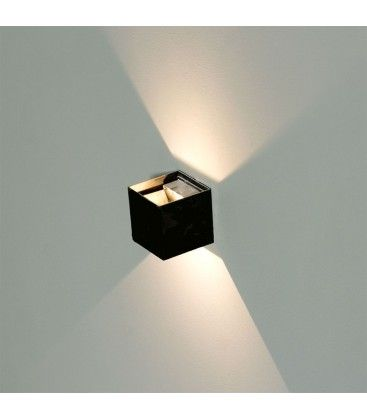 V-Tac 12W LED svart vägglampa - Kvadrat, justerbar spridning, IP65 utomhusbruk, 230V, inkl. ljuskälla