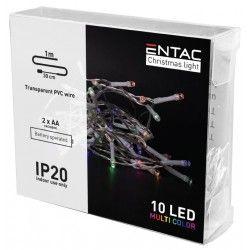 Diverse 1 meter inomhus LED juleljusslinga - Batteri, 10 LED, multicolor