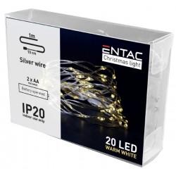 Diverse 1 meter inomhus LED juleljusslinga - Batteri, 20 LED, varm vit