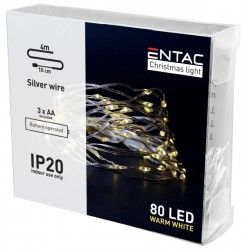 Black Friday 4 meter inomhus LED juleljusslinga - Batteri, 80 LED, varm vit