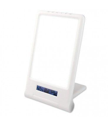 LED lysterapi armatur med timer/alarm - 18W, vit/blå, 10.000 LUX, indbyggt batteri