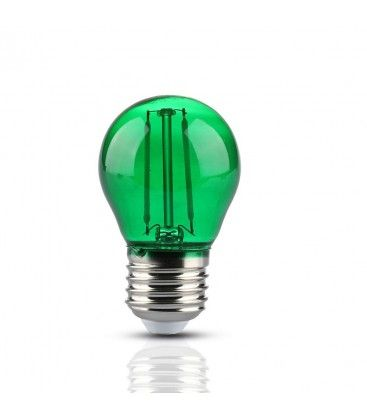 V-Tac 2W Färgad LED liten globlampa - Grön, Filament, E27