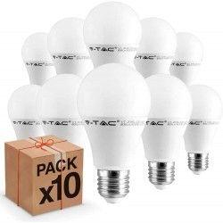 E27 vanliga LED 10 st V-Tac 9W LED lampa - 200 grader, E27