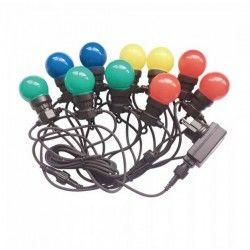 Trädgårdslampor V-Tac LED lyskæde med 10 stk. 0,5W RGB lampar - 5 meter, Färgskift, 230V, inkl. ljuskälla