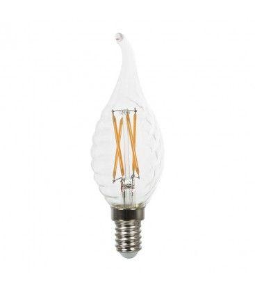 V-Tac 4W LED flammalampa med twist - Filament, varm vit, E14