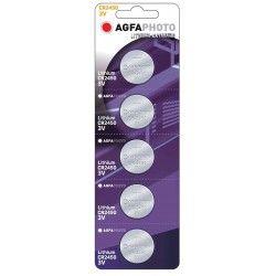 Batterier 5 stk AgfaPhoto Lithium knappbatteri - CR2450, 3V