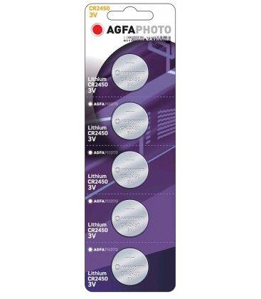 CR2450 5-pak AgfaPhoto knappbatteri - Lithium, 3V