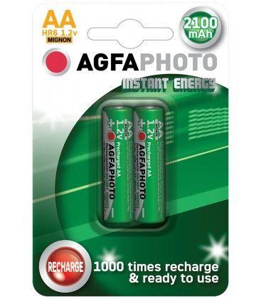 2 stk AgfaPhoto uppladdningsbart batteri - AA, 1,5V