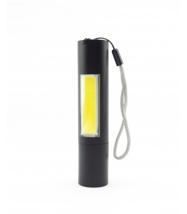 LED ficklampa med zoom - 3W, uppladdningsbart, powerbank funktion, 1200mAh, svart