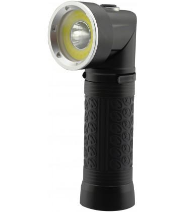 LED ficklampa 90° roterbar - 5W, magnet i botten, 3xAAA, svart