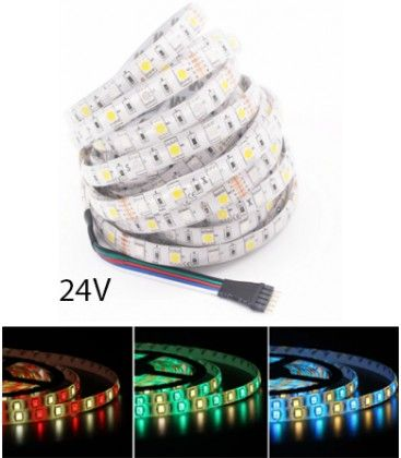 12W/m RGB+WW LED strip - 5 meter, IP20, 60 LED per. meter, 24V