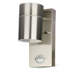 Utomhus vägglampa V-Tac vägglampa m. sensor - IP44 utomhusbruk, rostfritt, GU10 sockel, utan ljuskälla