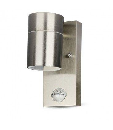 V-Tac vägglampa m. sensor - IP44 utomhusbruk, rostfritt, GU10 sockel, utan ljuskälla