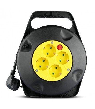 V-Tac kabelvinda - 10 meter, svart/gul
