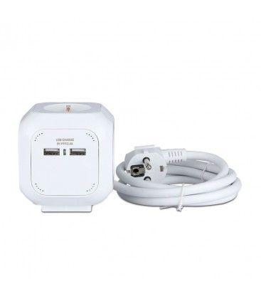 V-Tac grenuttag - Kvadratisk, 4-vägs + 2 USB, 1,4 meter kabel