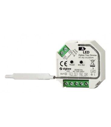 Zigbee inbyggningsdimmer - 200W LED dimmer, fjädertryck/push dim, korsomkoppling, memory