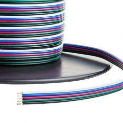 LED strip 12-24V RGB+W kabel - 5 x 0,5 mm², löpmeter, min. 5 meter