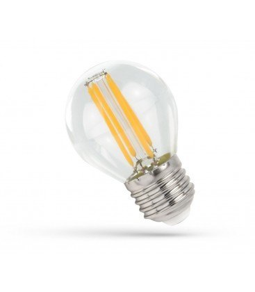 4W LED liten globlampa - G45, Filament, klartt glas, E27