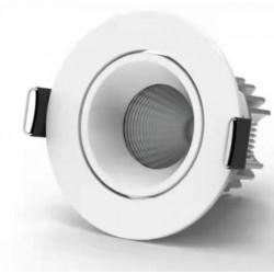 Downlights 7W 12V LED downlight - Hål: Ø6,5 cm, Mål: Ø7,9 cm, COB LED, vit kant, dimbar