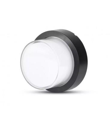 V-Tac 7W LED svart vägglampa - Rund, IP65 utomhusbruk, 230V, inkl. ljuskälla