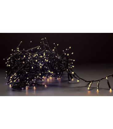 8 meter utomhus LED cluster juleljusslinga - IP44, 230V, 400 LED, varm vit