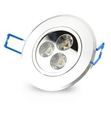 3W downlight - Hål: Ø7-8 cm, Mål: Ø8,4 cm, 4 cm hög, dimbar, 230V