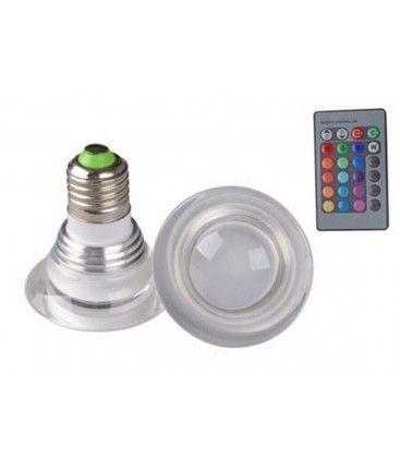 RGB3 - LED lampa, 3W, 230V, fjärrkontroll, E27