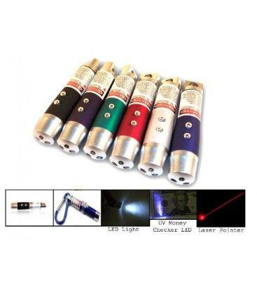 3-i-1 - Laser pointer, ficklampa och UV-lampa